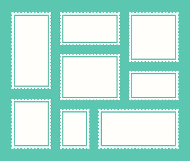 Lege postzegel instellen getande grens mailing post sticker sjabloon. vector grafisch ontwerp