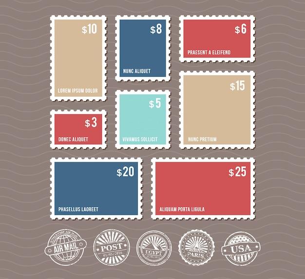 Lege postzegels in verschillende maten en vintage poststempels vector set