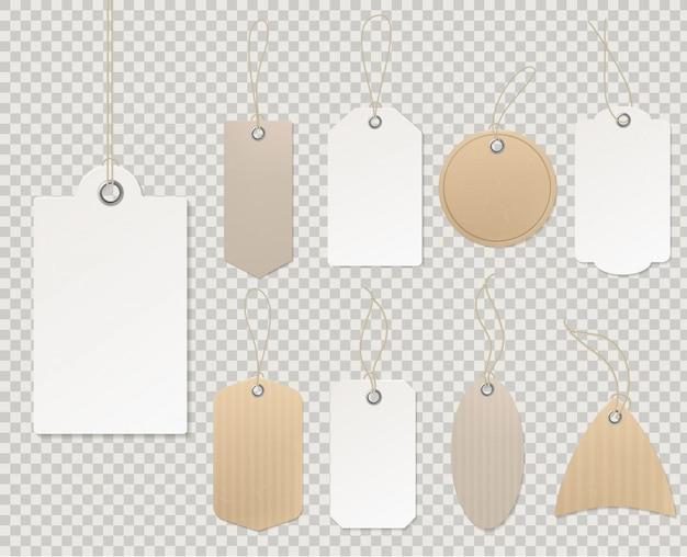 Lege prijskaartjes. papieren labelsjabloon, blanco etiketten, cadeaukaart, decoratieve sticker, touw, leeg, kartonnen winkel, cadeau, korting, ontwerp