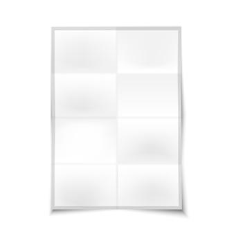 Lege realistische gevouwen poster met plaats voor uw ontwerp en branding, geïsoleerd op een witte achtergrond.