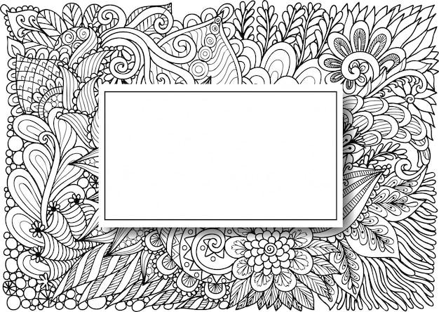 Lege rechthoek op bloemen