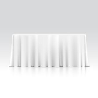 Lege rechthoekige tafel met tafellaken
