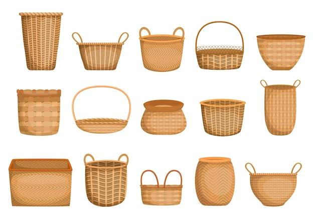 Lege rieten mand cartoon collectie. realistische handgemaakte manden en dozen voor picknick, cadeaus, kruidenier.