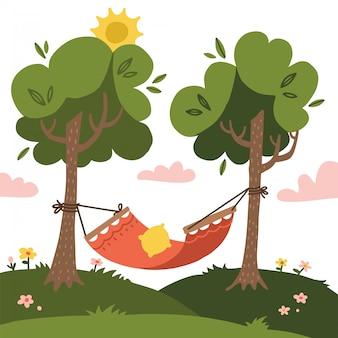 Lege rode zomer hangmat met bomen en landschappen. platte ontwerp illustratie.