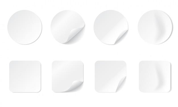 Lege ronde en vierkante zelfklevende stickers met gebogen hoek