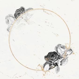 Lege ronde gouden frame vector