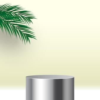 Lege ronde metalen podium met palmbladeren voetstuk cosmetische producten display platform