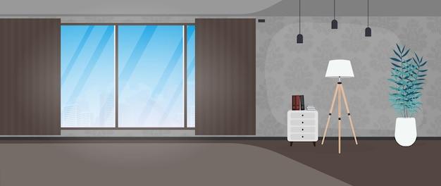 Lege ruimte met een groot panoramisch raam. een kamer met monogrammen aan de muren. vector illustratie.