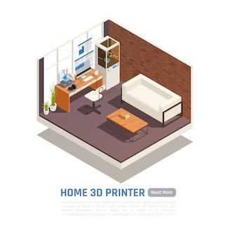 Lege ruimte met illustratie van de huis 3d printer