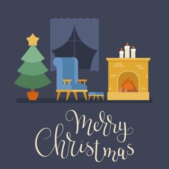 Lege ruimte met kerstboom, open haard en een stoel in de buurt van venster