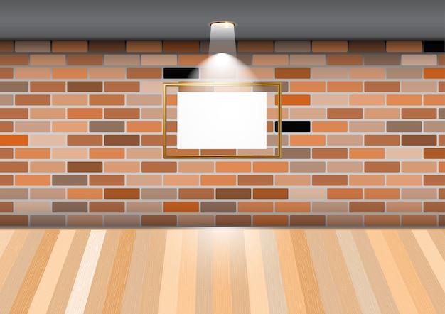 Lege ruimte met leeg frame op bakstenen muur in de galerij