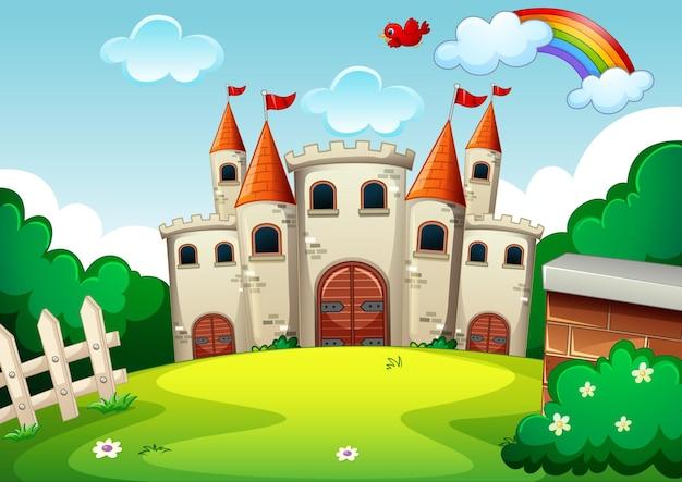 Lege scène met kasteel in de natuur