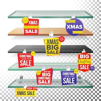 Lege schappen van de supermarkt, vakantie kerst sale wobblers.