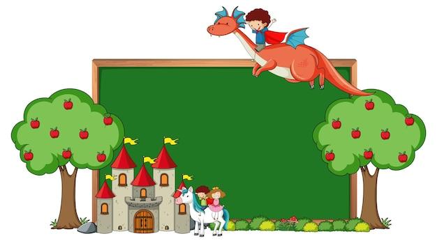 Lege schoolbordbanner met het karakter van het sprookjebeeldverhaal en geïsoleerde elementen