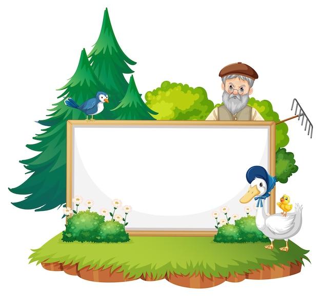 Lege sjabloon voor spandoek in de boerderij scene geïsoleerd op een witte achtergrond
