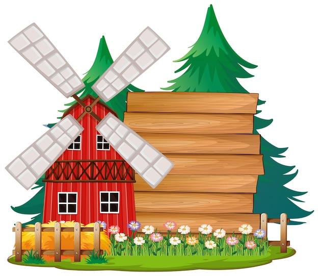 Lege sjabloon voor spandoek in de boerderij scène geïsoleerd op een witte achtergrond