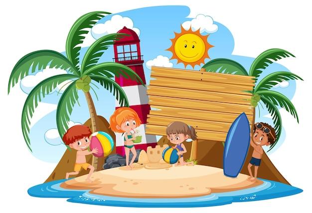 Lege sjabloon voor spandoek met kinderen karakter op zomervakantie op het strand op witte achtergrond