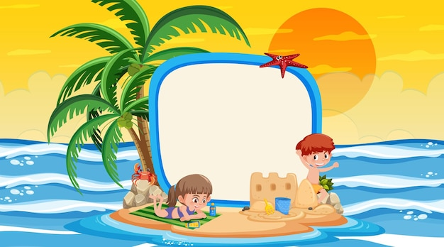 Lege sjabloon voor spandoek met kinderen op vakantie bij de zonsondergang op het strand