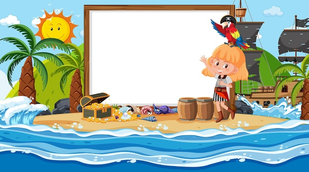 Lege sjabloon voor spandoek met piratenmeisje op het strand overdag scène