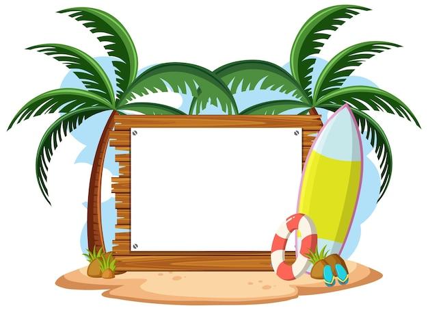 Lege sjabloon voor spandoek met zomer strand element geïsoleerd