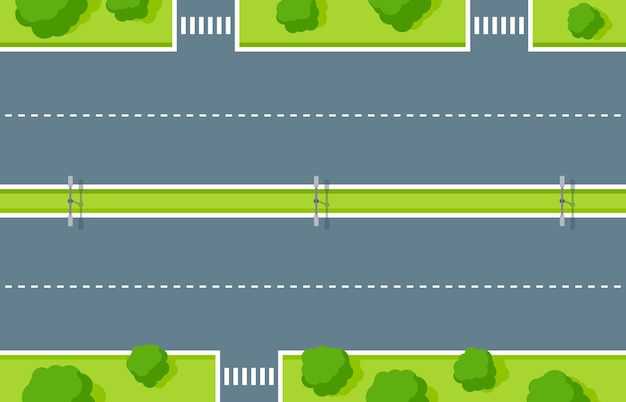 Lege snelweg bovenaanzicht. wegasfalt met zebrapad, witte gestreepte strepen, bliksem en groene zone met bomen en struiken. wegmarkering voor voertuigen en wandelaars vectorillustratie