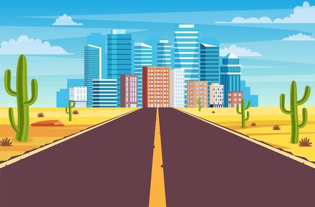 Lege snelweg weg in de woestijn die leidt naar een grote stad. zandwoestijnlandschap met weg, rotsen en cactussen. snelweg in het hete zand van arizona of mexico. vectorillustratie in vlakke stijl