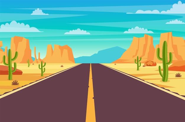 Lege snelweg weg in de woestijn. Premium Vector