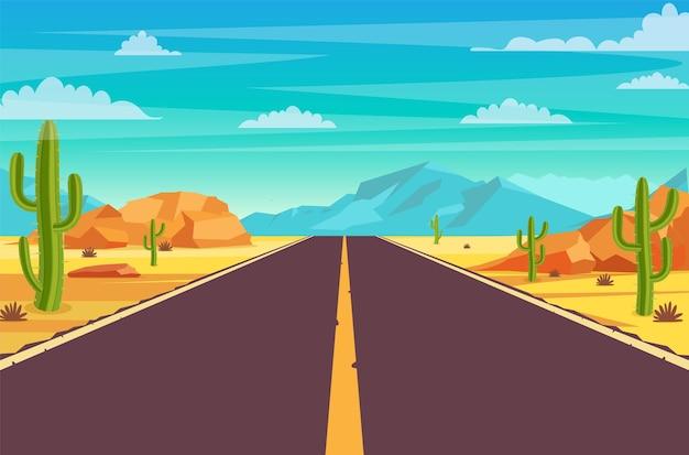 Lege snelweg weg in woestijn.