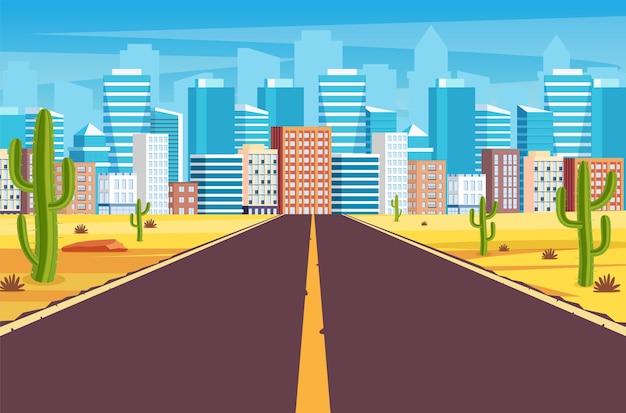 Lege snelwegweg in woestijn die leidt naar een grote stad.