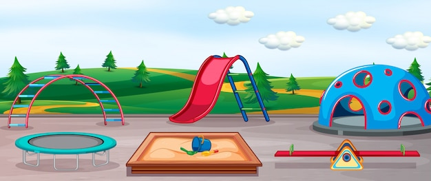 Lege speeltuin en leuke uitrusting