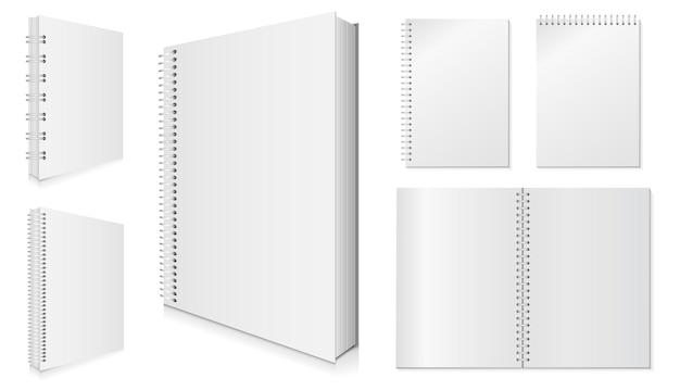 Lege spiraal notebook illustratie set