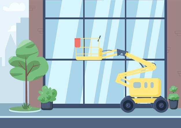 Lege stad straat egale kleur illustratie. 2d cartoon stadsgezicht met gebouw op de achtergrond. commerciële schoonmaakdienst, stadsreinigingsbedrijf. hoge lift voor het wassen van ramen