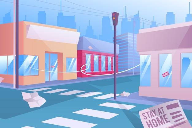 Lege stad vanwege pandemie