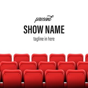 Lege stoelen op het podium van de bioscoopshow. titel sjabloon