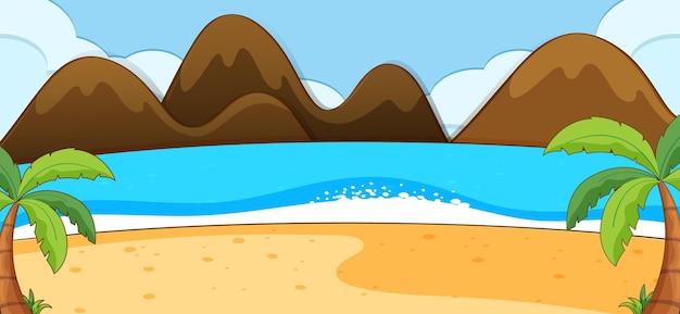 Lege strandscène met kokospalmen en berg in eenvoudige stijl