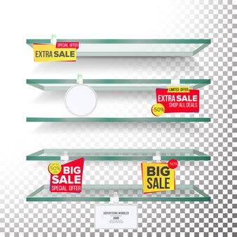 Lege supermarktplanken met labels