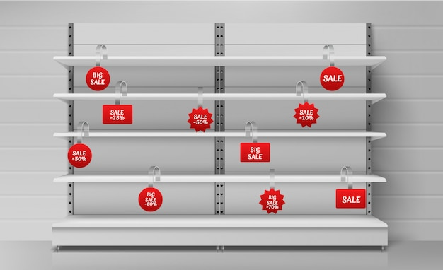 Lege supermarktplanken met rode wobblers