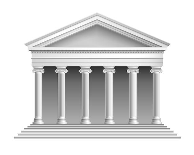 Lege tempel met colonnade