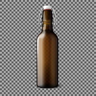 Lege transparante bruine realistische bierfles geïsoleerd op geruite achtergrond met plaats voor design