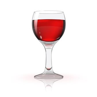 Lege transparante fotorealistische geïsoleerd op wit wijnglas met rode wijn
