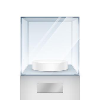 Lege transparante glazen doos kubus op witte achtergrond