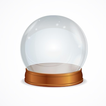 Lege transparante kristallen bol geïsoleerd. het symbool van hekserij