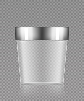 Lege transparante plastic emmer met zilveren dop 3d-realistisch vectormodel
