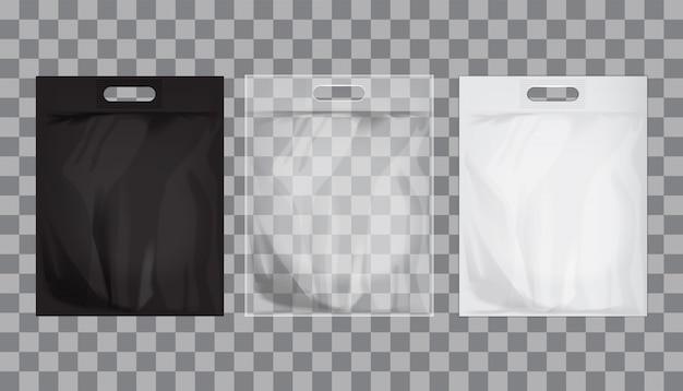 Lege transparante, zwarte, witte plastic zak mock-up geïsoleerd.