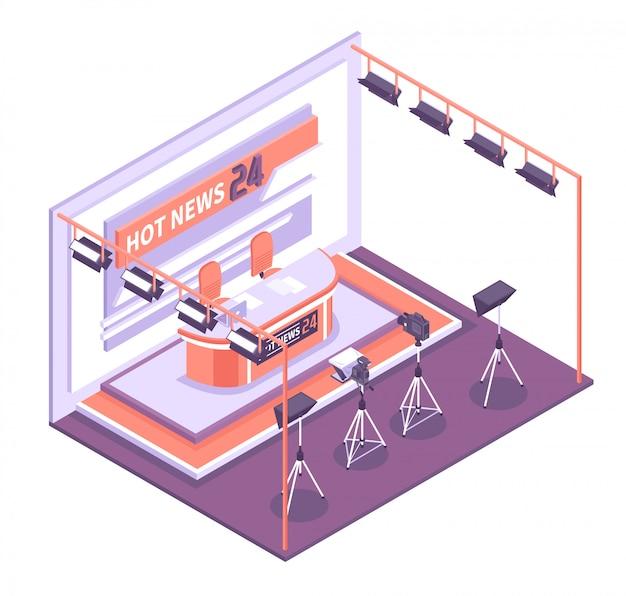 Lege tv-studio met diverse apparatuur om isometrische conceptenillustratie te schieten