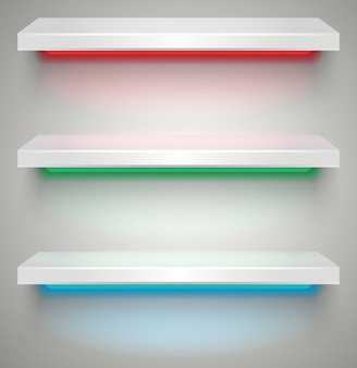 Lege verlichte planken