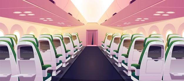 Lege vliegtuigcabine met stoelen, digitale schermen