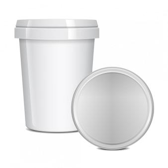 Lege voedselbekercontainers voor fastfood, dessert, ijs, yoghurt of snack.