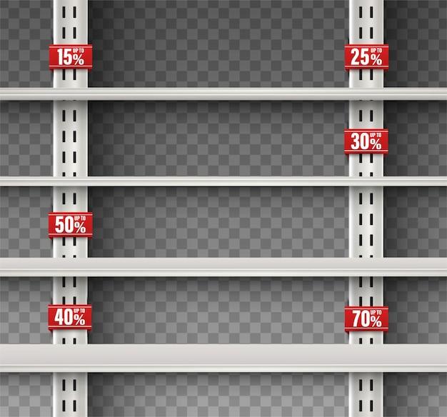 Lege wandplank met reclameborden. geïsoleerde aankondiging promotie verkoop