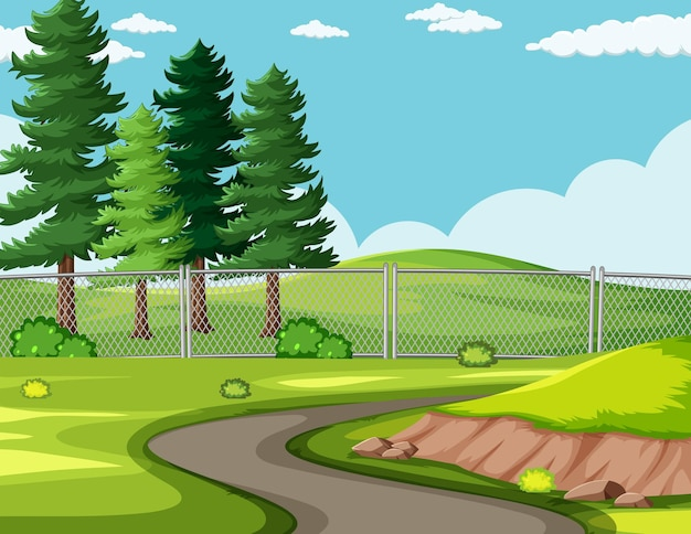 Lege weg in het parklandschap